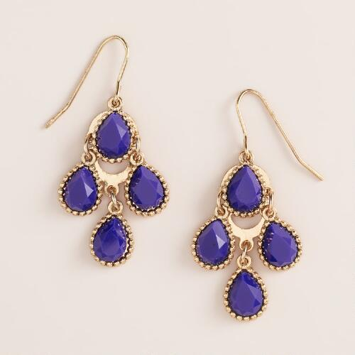 Mini Blue Chandelier Earrings