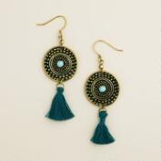 Gold and Teal Medallion Tassel Earrings