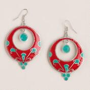 Red and Turquoise Nepal Drop Hoop Earrings