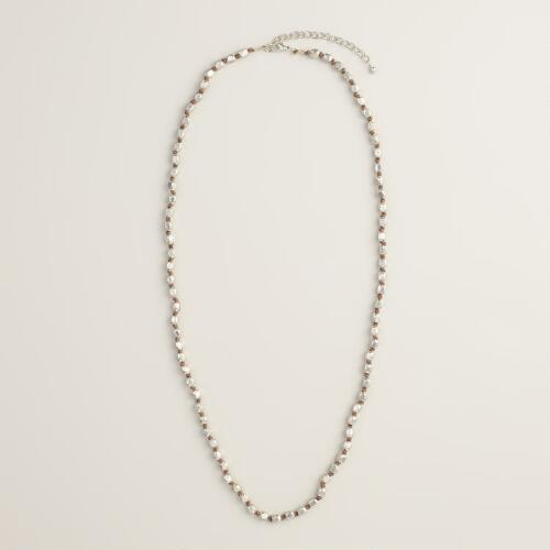 Long Silver Bead Single Layer Necklace