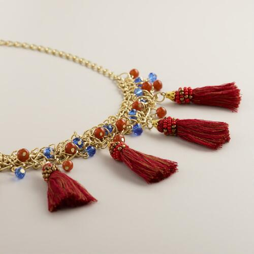 Gold Chain with Red Fringe Tassels Necklace