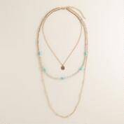 Gold and Silver Turquoise 3-Layer Necklace