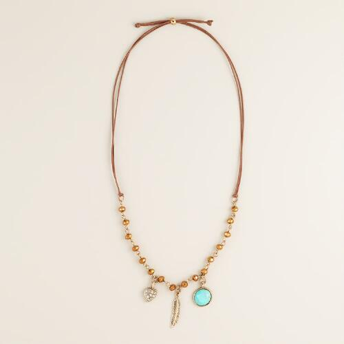 Topaz and Suede Leaf Dangle Necklace