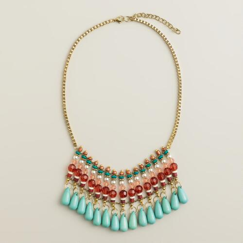 Turquoise and Rust Drop Statement Necklace