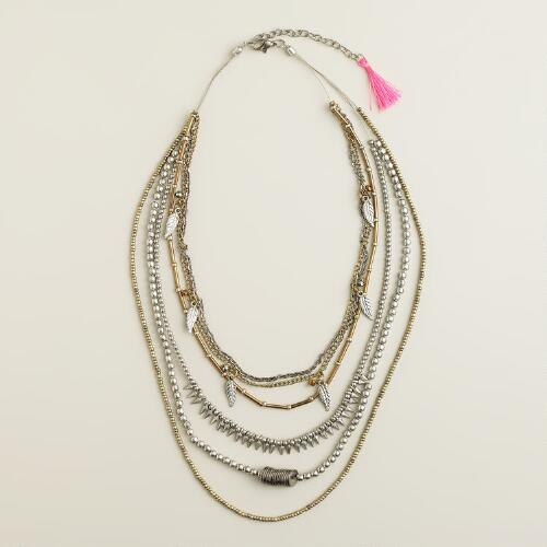 Silver and Gold Tribal Layer Necklace