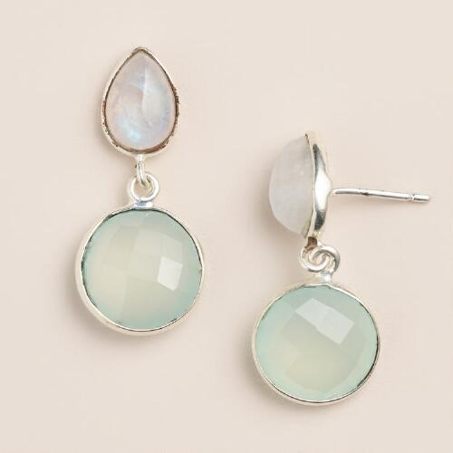 Moonstone and Aqua Double Drop Earrings