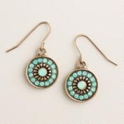 Gold Pacific Opal Round Drop Earrings