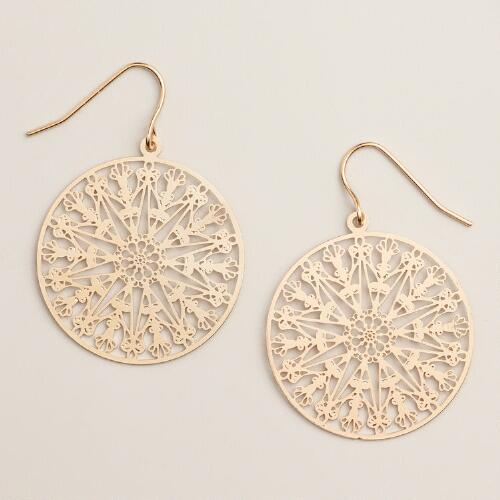 Gold Filigree Round Drop Earrings