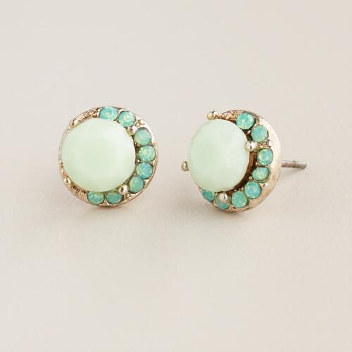 Pacific Opal Round Crescent Stud Earrings
