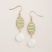 Mint Green Bead Drop Earrings