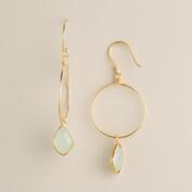 Gold with Stone Drop Earrings