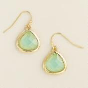 Gold and Mint Faceted Drop Earrings