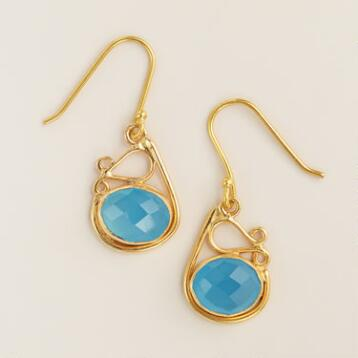 Gold and Blue Chalcedony Drop Earrings