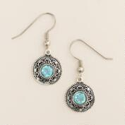 Silver and Blue Topaz Filigree Drop Earrings