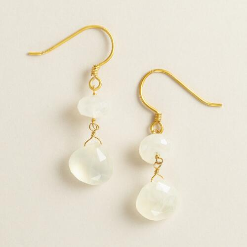 Gold and Moonstone Double Drop Earrings