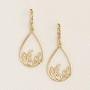 Gold Leaf  Teardrop Earrings