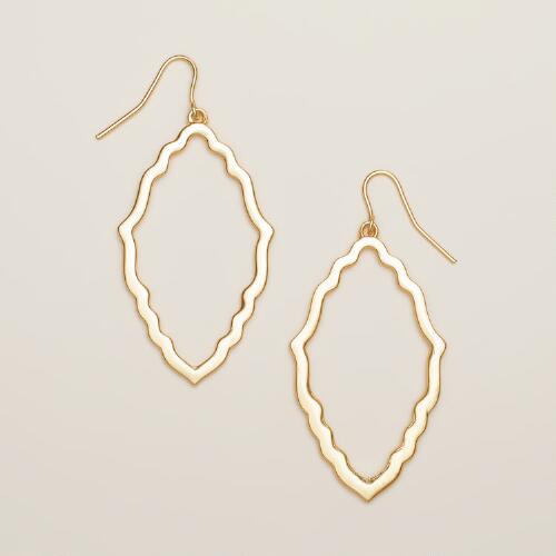 Gold Scallop Drop Earrings