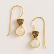 Gold and Black Diamond Double Drop Earrings
