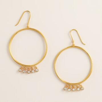 Gold and Cubic Zirconia Dangle Hoop Earrings