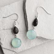 Silver Smoky Topaz and Aqua Drop Earrings