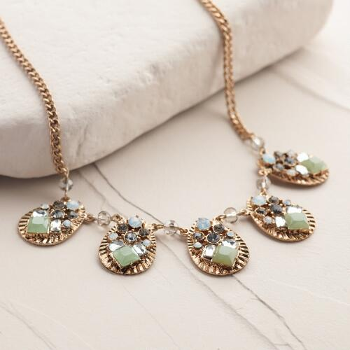 Gold Pacific Opal and Rhinestone Statement Necklace