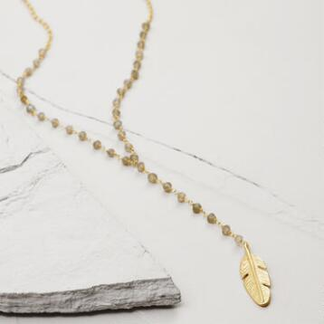 Gold & Labradorite Feather Lariat Necklace