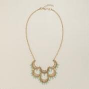 Gold and Mint Filigree Statement Necklace