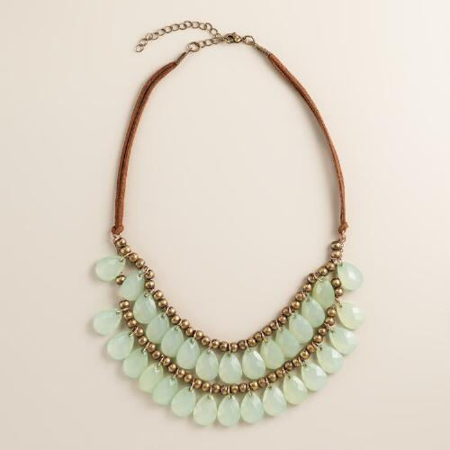 Small Mint Teardrop Suede Necklace