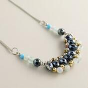 Silver and Mixed Media Bead Necklace