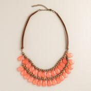 Small Coral Teardrop Suede Necklace