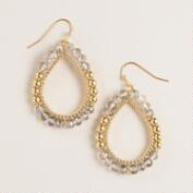 Gold and Tonal Stones Teardrop Earrings