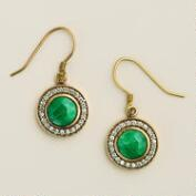 Round Emerald and Cubic Zirconia Drop Earrings
