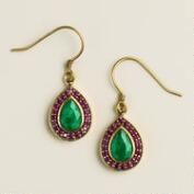 Emerald and Ruby Teardrop Earrings