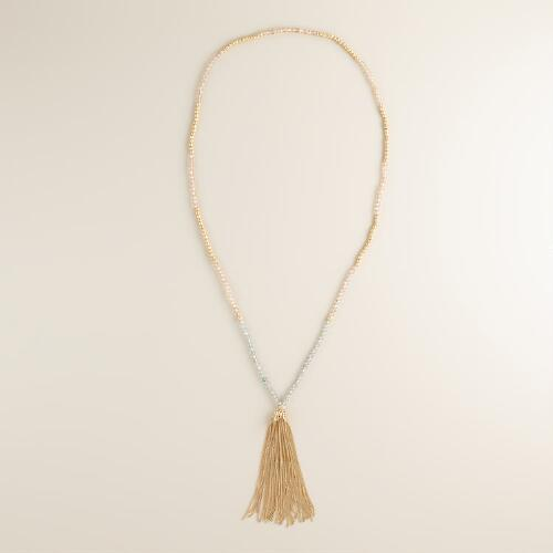 Tonal Gold Tassel Necklace