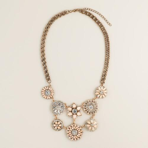 Blush and Rhinestone Flower Statement Necklace