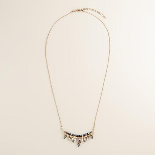 Long Gold and Blue Jewel Necklace
