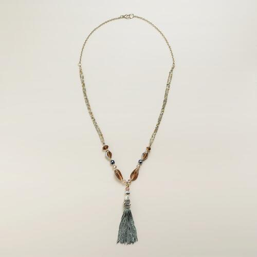 Silver Bead and Tassel Necklace