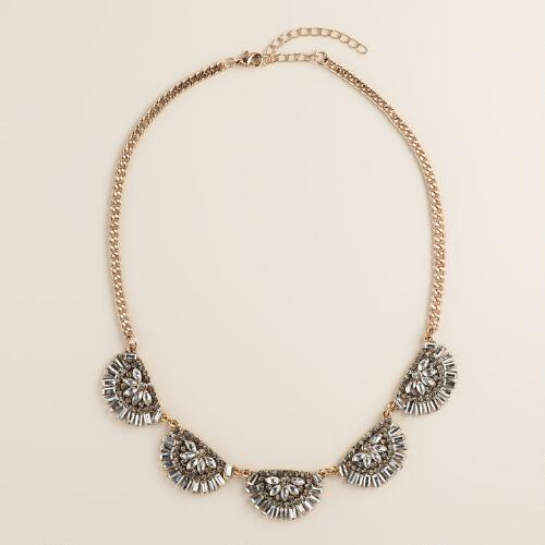 Art Deco-Style Rhinestone Statement Necklace