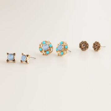 Gold Flower, Abstract and Blue Stud Earrings, Set of 3