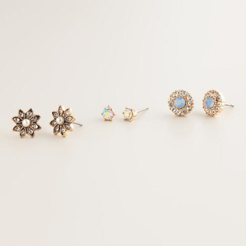 Gold and Blue Cluster Stud Earrings, Set of 3