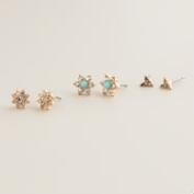 Gold Green Flowers and Arrow Stud Earrings, Set of 3