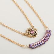 Gold Purple Evil Eye Pendant Necklaces, Set of 2