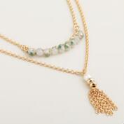 Gold and Mint Tassel Pendant Necklaces, Set of 2