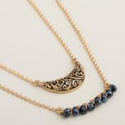 Black Bead and Crescent Pendant Necklaces, Set of 2