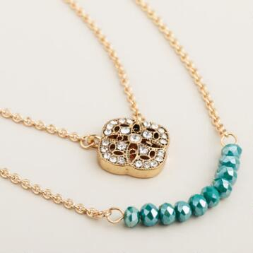 Gold and Black Diamond Pave and Geometric Pendant Necklaces