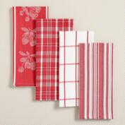 Red Cotton Jacquard Kitchen Towels, Set of 4