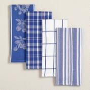 Blue Cotton Jacquard Kitchen Towels, Set of 4