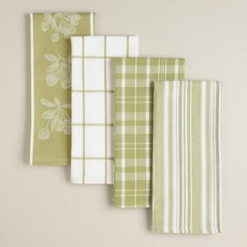 Green Cotton Jacquard Kitchen Towels, Set of 4