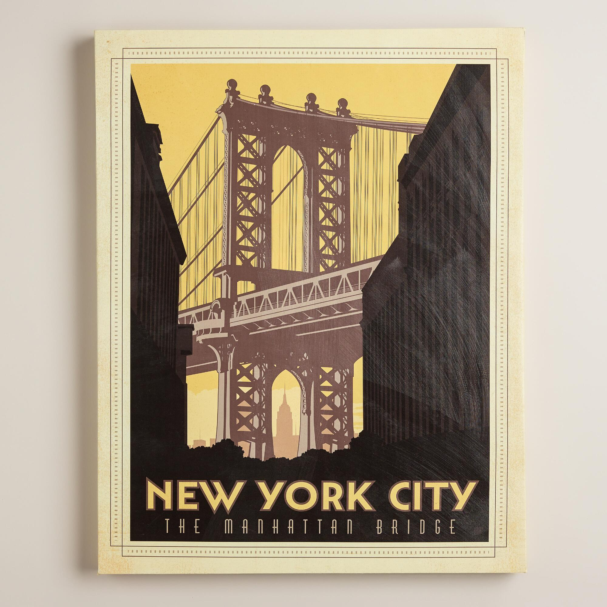 vintage style new york city poster world market. Black Bedroom Furniture Sets. Home Design Ideas