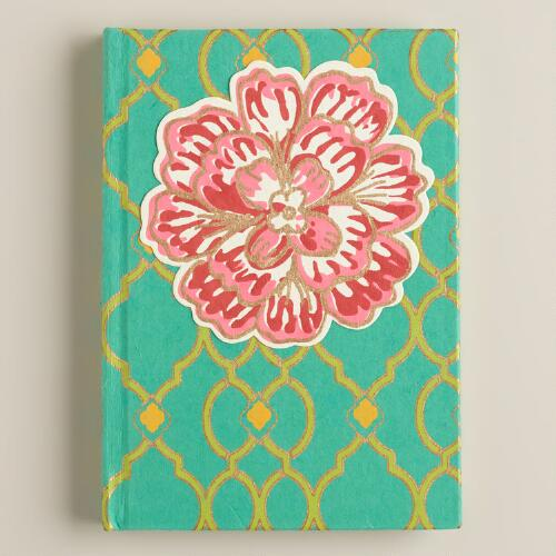 Turquoise and Pink Ethel Handmade Journal